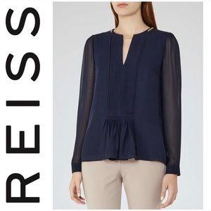 ❤️ Reiss Inda chiffon blue chain blouse top 0
